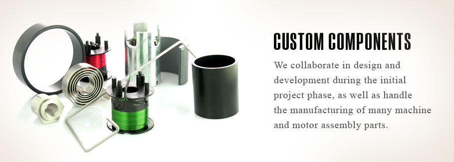 We collaborate in design and development during the initial project phase, as well as handle the manufacturing of many machine and motor assembly parts